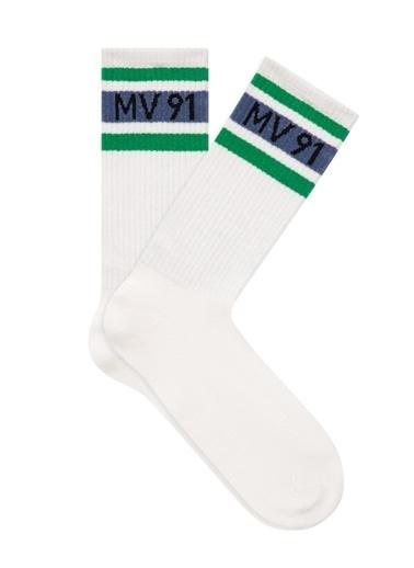 Mavi Mv 91 Baskılı Soket Çorap Beyaz